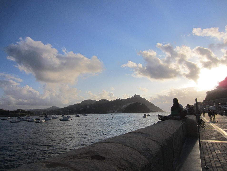 Along the boardwalk at sunset Donostia  Spain