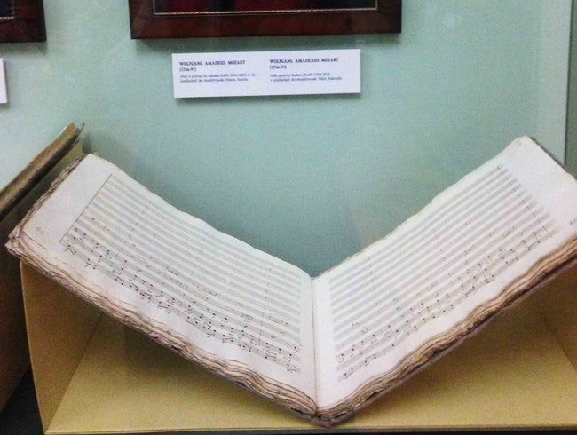 Where you can see original Mozart and Beethoven manuscripts in Prague