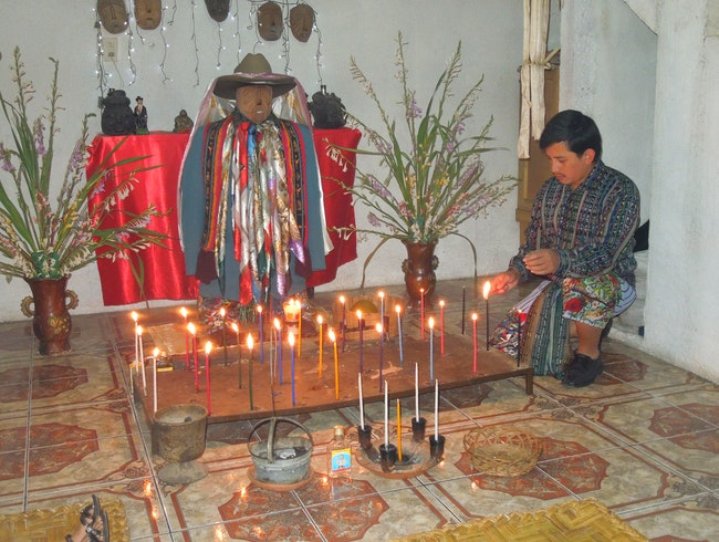 Santiago Shaman giving us a travel blessing