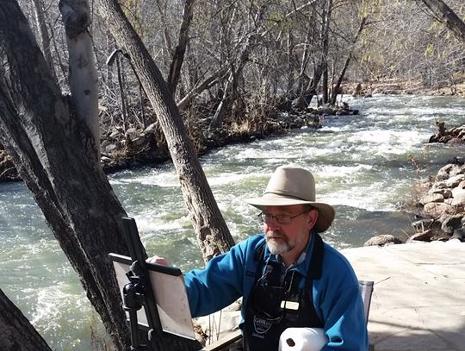 Michael Chesley Johnson Painting Creekside at L'Auberge