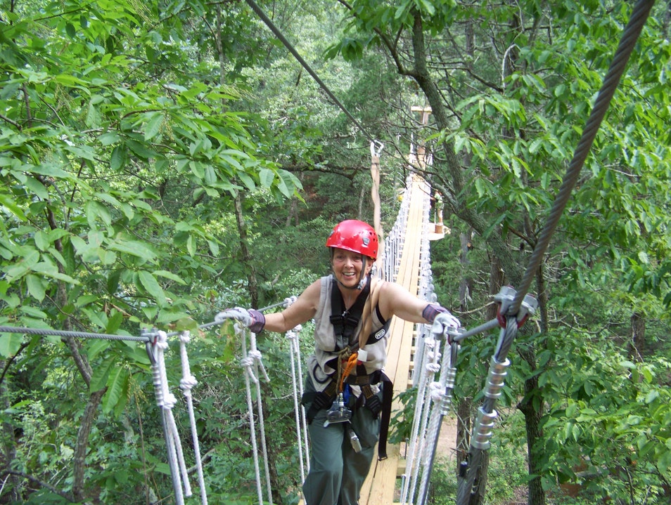 Rope bridge during zip line course Fayetteville North Carolina United States