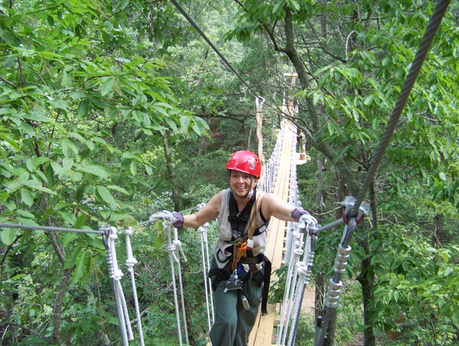 Rope bridge during zip line course