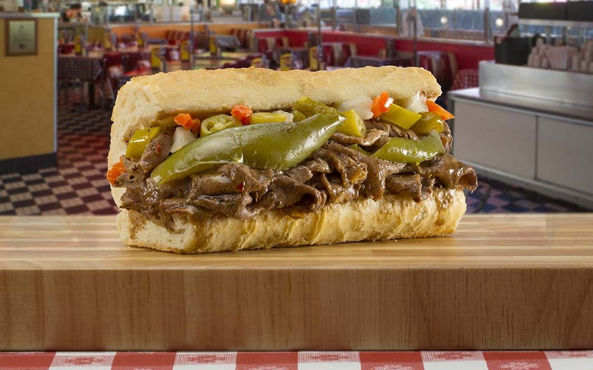 Chicago's famous Italian beef sandwich comes stuffed with roast beef and drizzled with gravy.