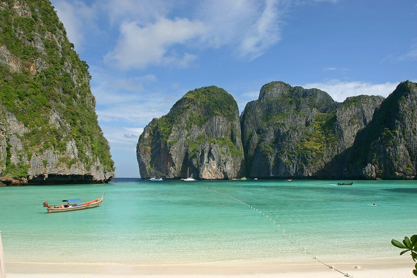 Maya Bay is closed to visitors until June 2021, but you can still snag a photo from a boat tour.