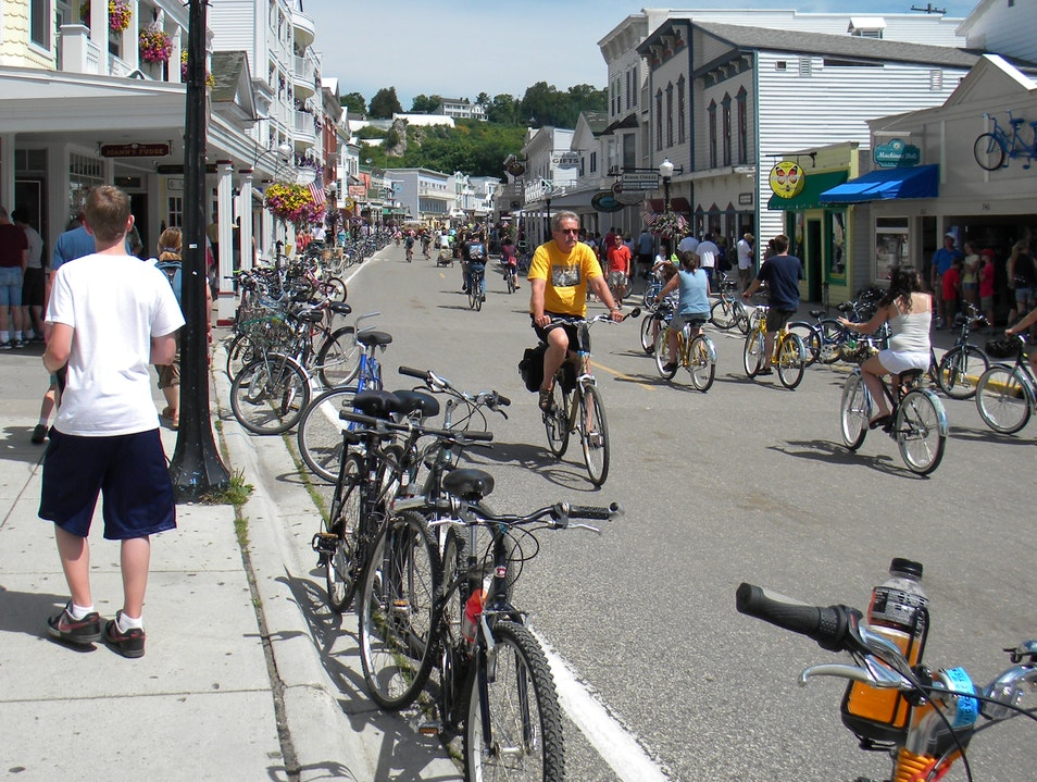 Shops and bikes on Main (Huron) Street Mackinac Island Michigan United States