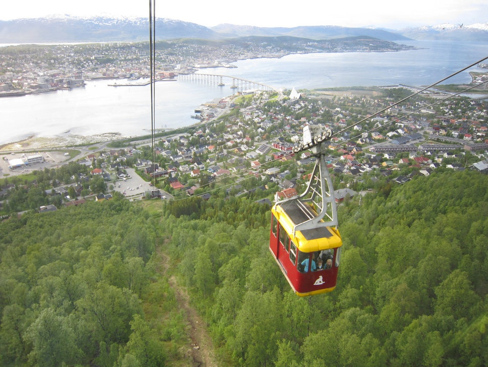 Taking a Cablecar in the Middle of the Night Tromso  Norway