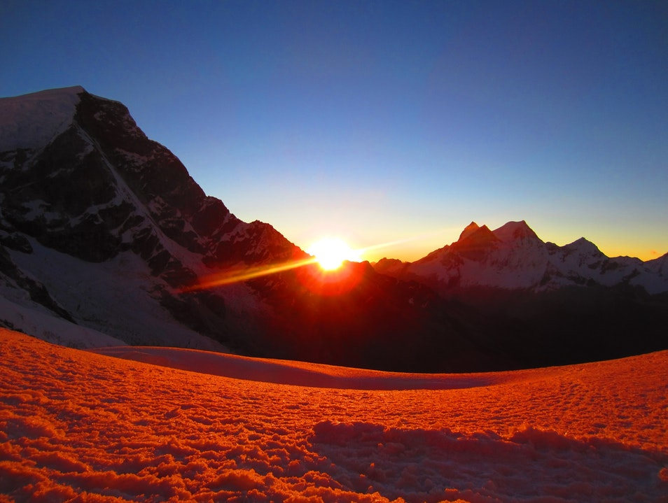 Sunset at high camp on Mt Chopicalqui