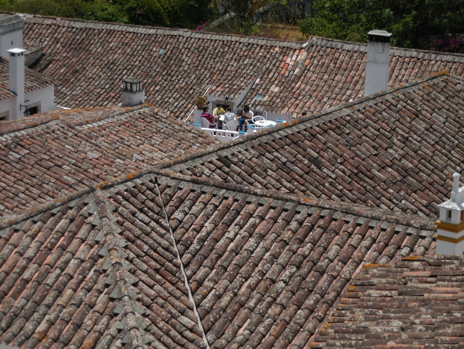 Rooftop Gathering in the Walled City of Óbidos Óbidos  Portugal
