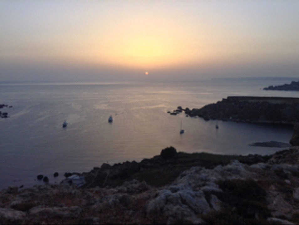 Sunset overlooking Gnejna Bay Mgarr  Malta