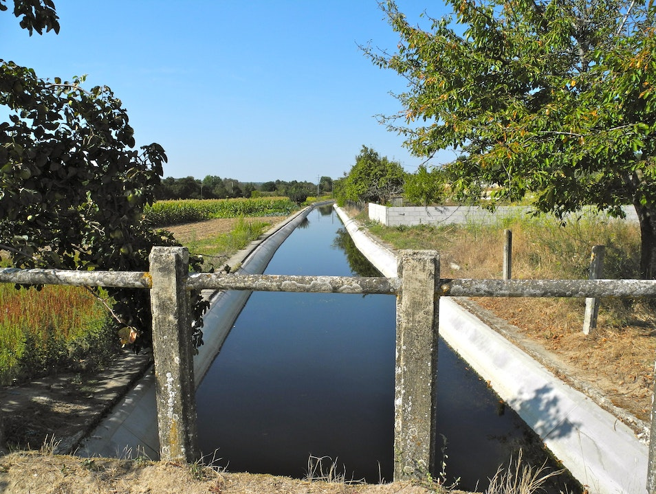 The Acude Waters Flow to the Fields Through the Canal Vila Verde da Raia  Portugal