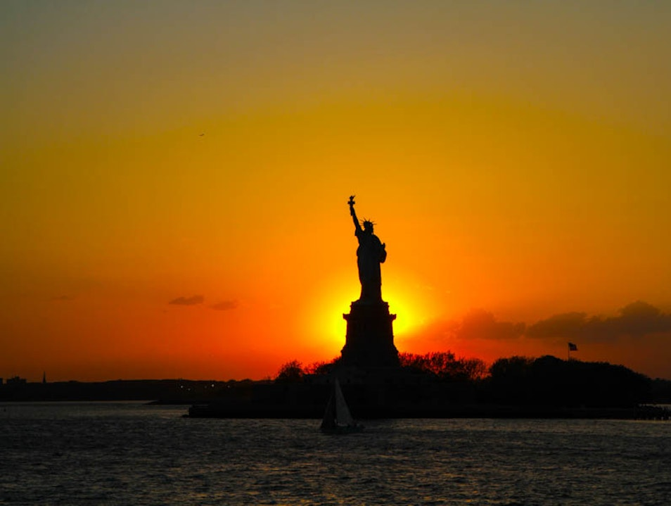 Seeing the Statue of Liberty in a new light.  New York New York United States