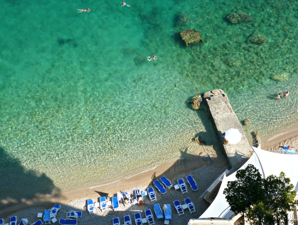 Relax on the beautiful, pebbly Bellevue Beach Dubrovnik  Croatia