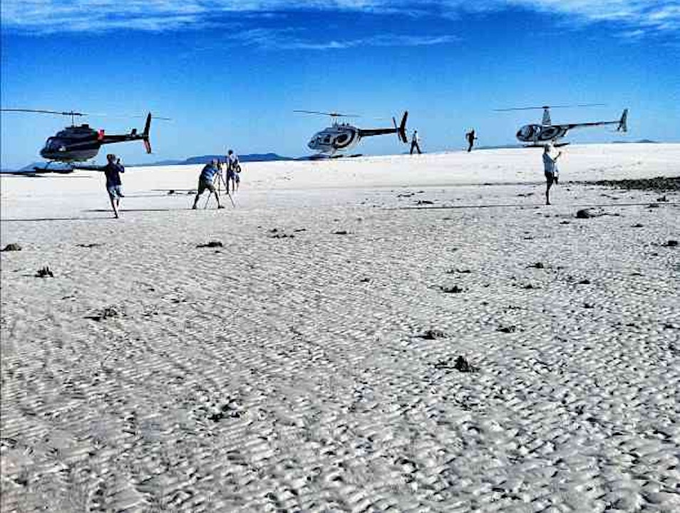 Taking a helicopter to a dry spot on the Great Barrier Reef