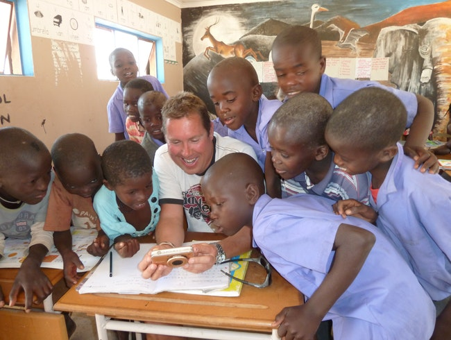 School lessons with Namibian youngsters