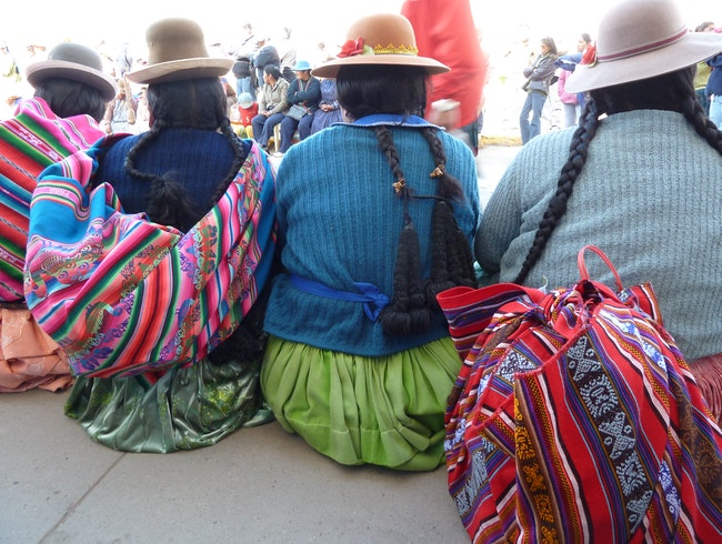 Lake Titicaca is spectacular, but so are the local women in their traditional handmade clothing.  And don't forget the bowler hats!