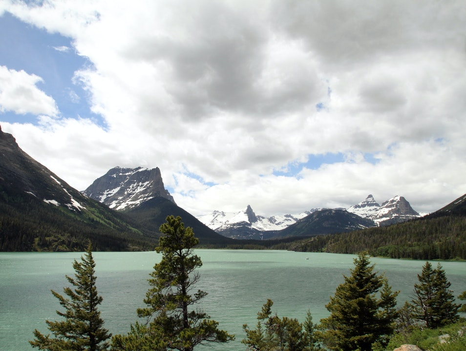 The emerald waters of St. Mary Lake from Sun Point, Glacier Browning Montana United States