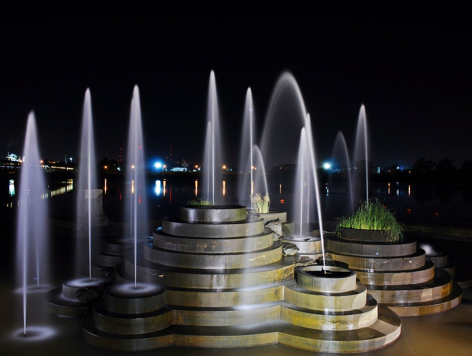Pedestrian Bridge Fountain - River Parks Tulsa Tulsa Oklahoma United States