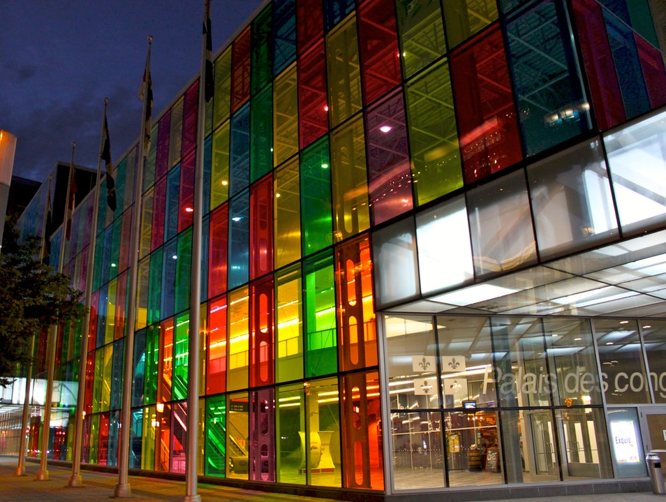 Colorful architecture at night Montreal  Canada