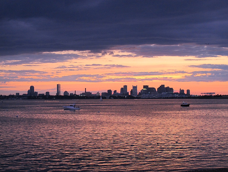 Watching the sun set from the Boston Harbor Islands Boston Massachusetts United States