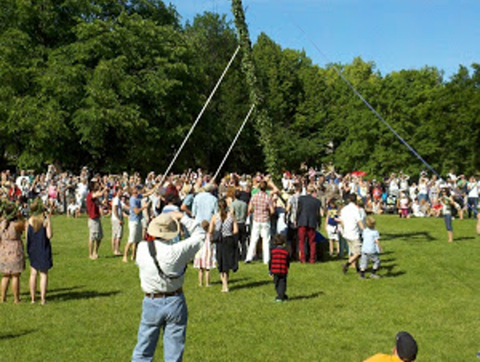 Raising the Maypole for Midsommar Vaxholm  Sweden