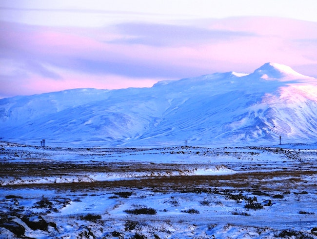 The Colors of Iceland:  Pink, Blue, Black and White