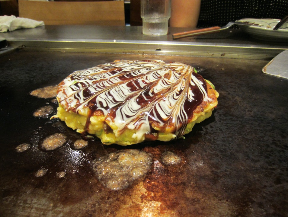 Trying Okonomiyaki in Osaka Totsukawa  Japan