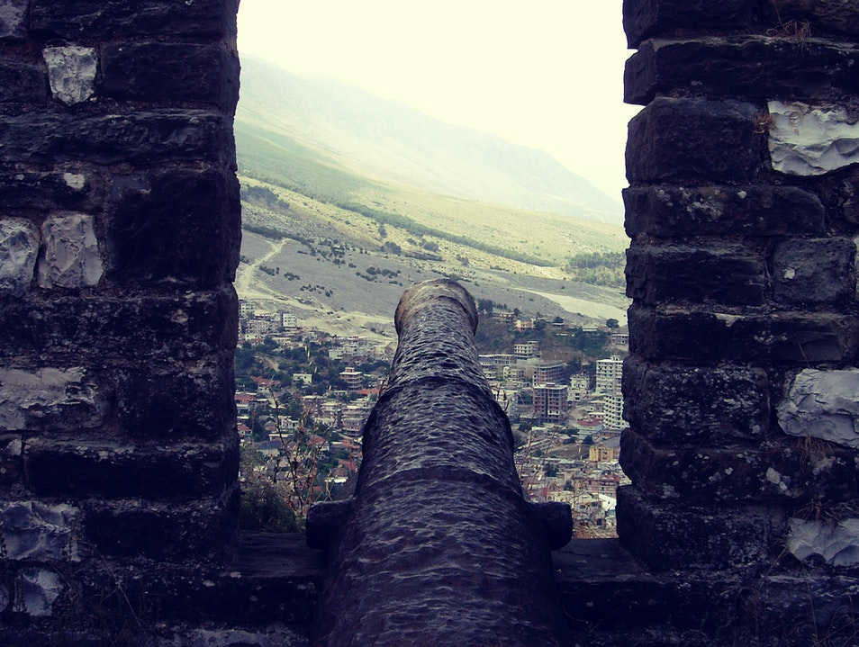 A castle in the Albanian valley Gjirokaster  Albania