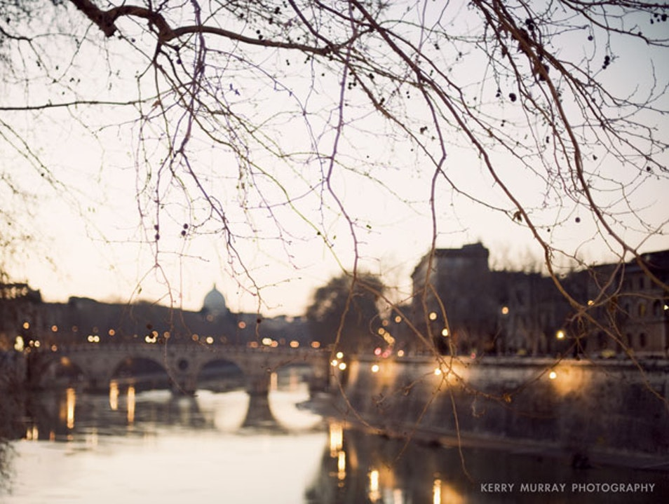 Sunset over Rome´s Tiber river Rome  Italy