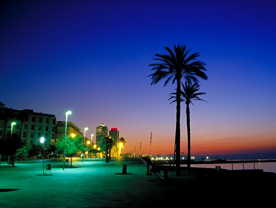 Sunrise Over Barceloneta Beach Barcelona  Spain