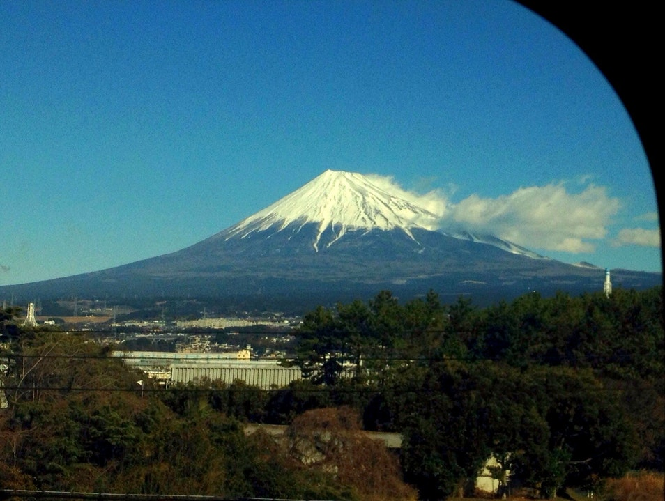 Catching a view of Mount Fuji from the Bullet Train Fujinomiya  Japan