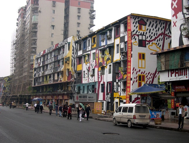 The Building Facades of Graffiti Street