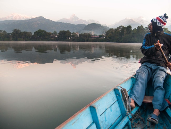 Phewa Lake Sunrise Paddle, Pokhara Valley, Kaski District, Nepal.