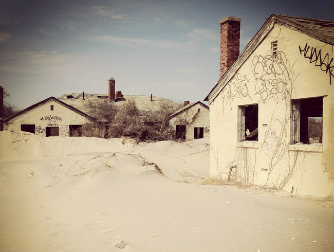 Remote ruins on a beach in New York City