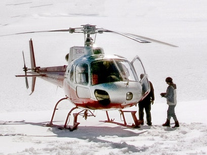 Helicopter Landing on Yanert Glacier in Denali  Denali National Park and Preserve Alaska United States