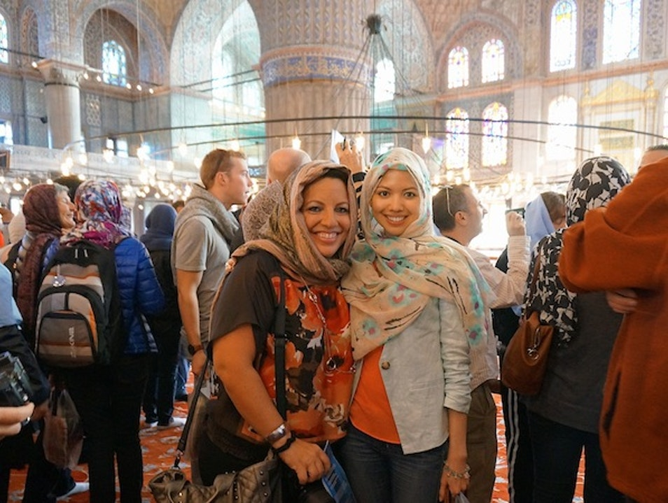 Touring the Blue Mosque Istanbul  Turkey