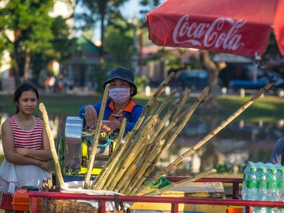 Sugar cane juice vendor Siem Reap  Cambodia