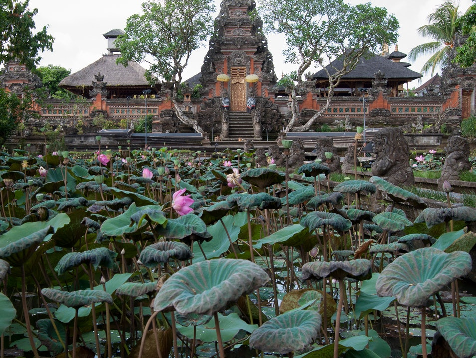 Tranquil Temple for the Hindu Goddess of Wisdom Marga  Indonesia