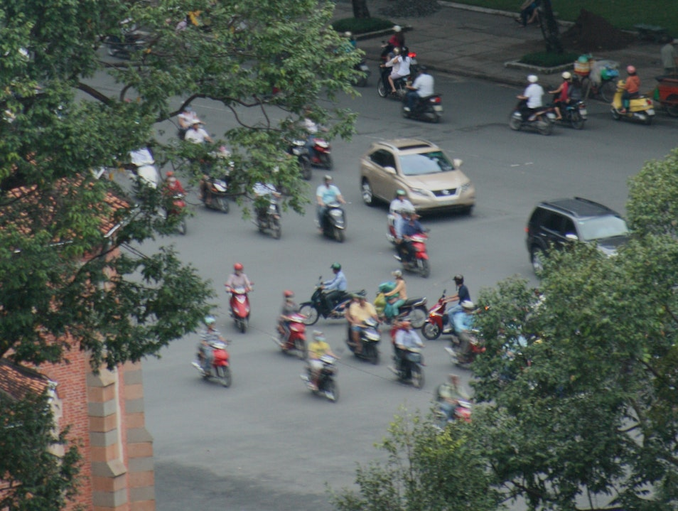 Crossing the road - Vietnam style Ho Chi Minh City  Vietnam