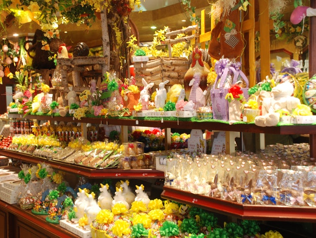 Tempting Easter marzipan display in Lubeck, Germany