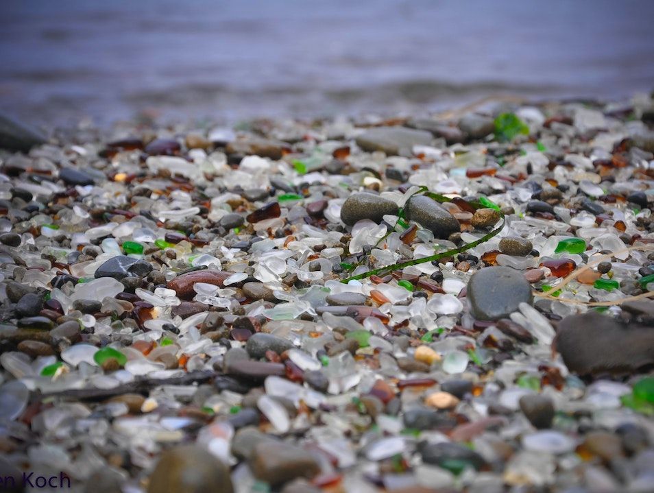A beach of sea glass Fort Bragg California United States