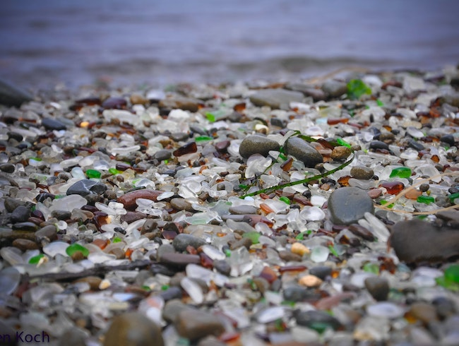A beach of sea glass