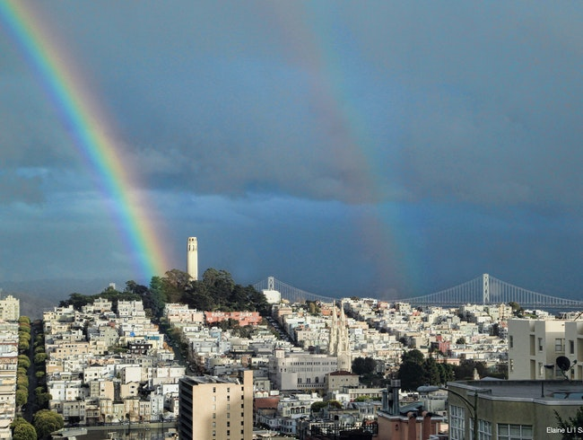 Double rainbow over Coit Tower