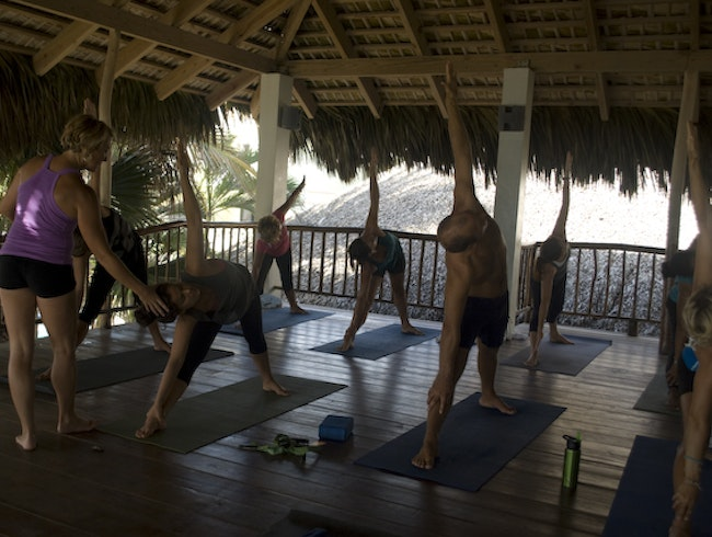 A world class yoga class with an ocean view
