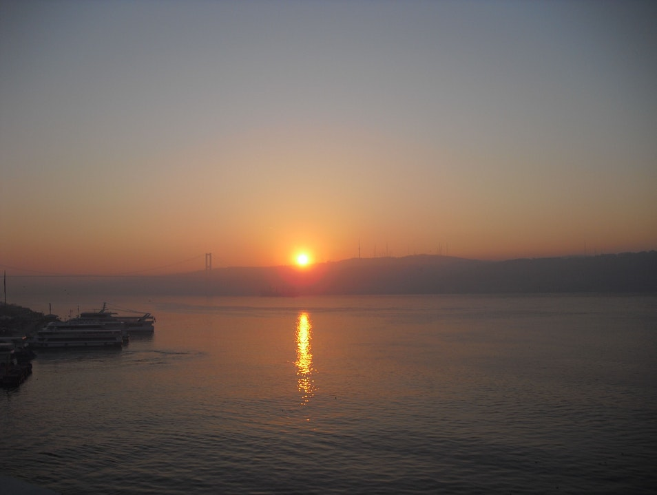 Sunrise over the Bosphorus Istanbul  Turkey