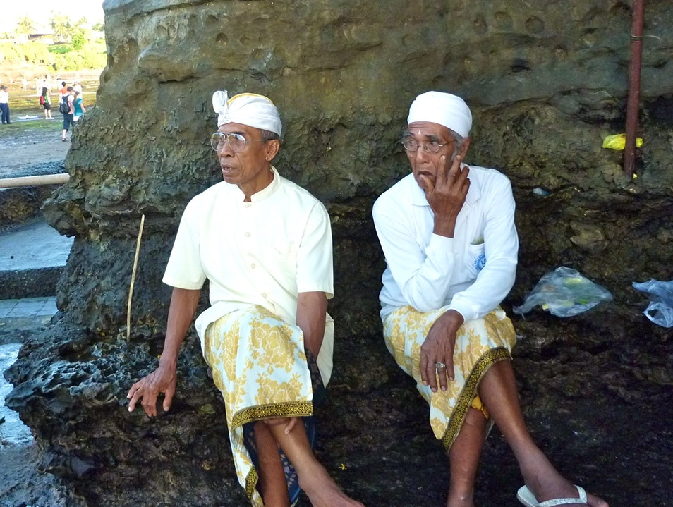 Getting a Rice Blessing at Tanah Lot  Kediri  Indonesia