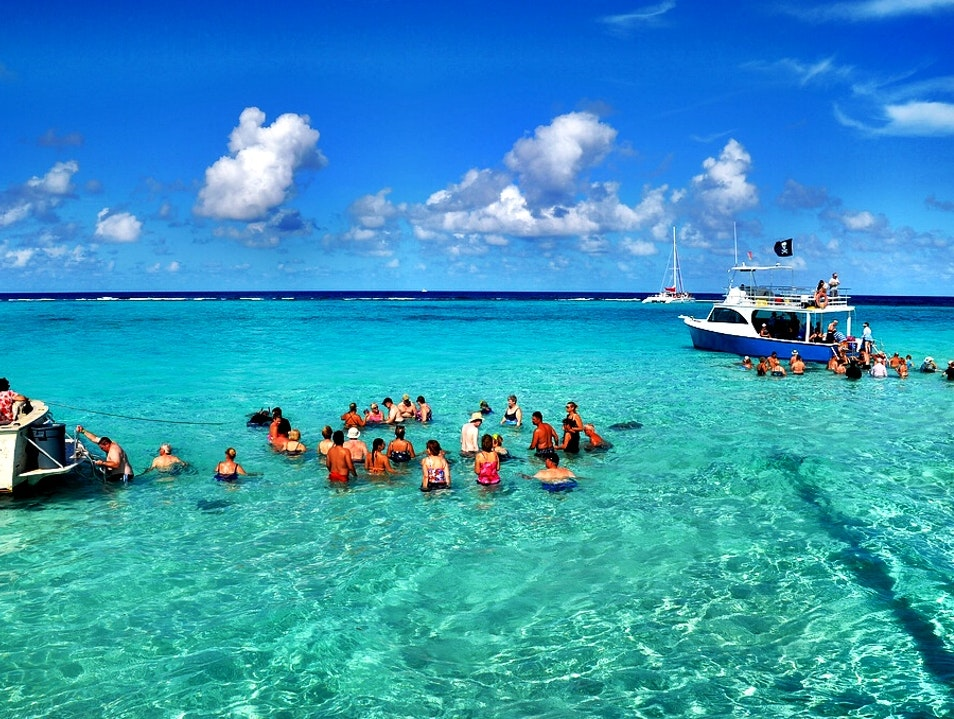 Getting close to nature at Stingray City Rum Point  Cayman Islands