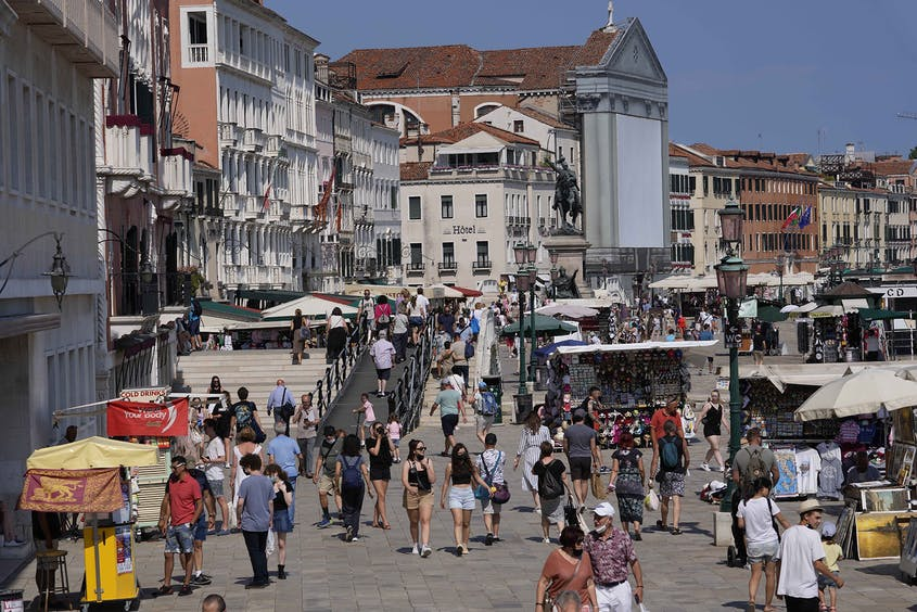 As Italy reopens, the streets in Venice are filling up once again, as seen here on June 17, 2021.