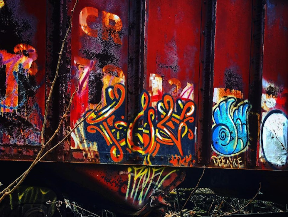 Hidden Graffiti Bus In New Hope, PA New Hope Pennsylvania United States