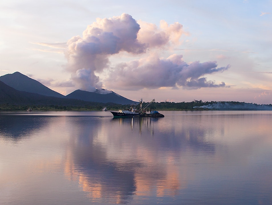 Sunrise over the harbour Rabaul  Papua New Guinea