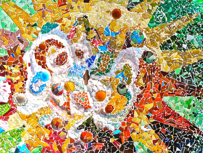 Colorful Mosaic of Park Güell - Barcelona, Spain